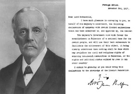 The Balfour Declaration and its author, Lord Balfour.