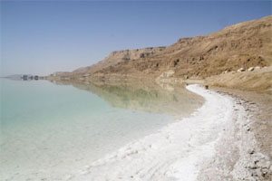 The Dead Sea, with salt deposits on the shoreline