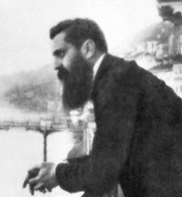 Theodor Herzl (1860-1904), a Hungarian Zionist leader who is considered to be the founder of the political Zionist movement, is shown leaning over a bridge or pier. Undated. --- Image by © Bettmann/CORBIS