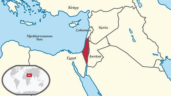 A map showing the location of Israel