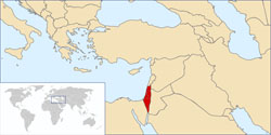 A map showing where Israel is.