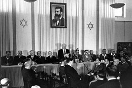 David Ben Gurion declares the establishment of the independent State of Israel on 14 May 1948.