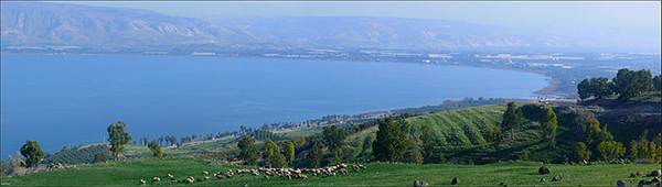 The southern end of the Sea of Galilee (Lake Kinneret)