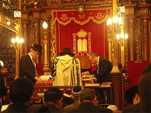 Reading the Torah in a synagogue. The Torah is being read by the man on the bimah with his back to the camera; the Torah scroll cannot be seen as it is lying on the reading desk behind him. In the background is a red parochet covering the Aron haKodesh. Congregants are seated in the foreground listening to the reading.