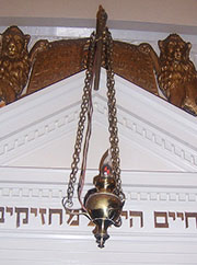 A Ner Tamid (Eternal Light) in a synagogue