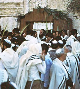 Jewish men at the Western Wall (Kotel) during the festival of Sukkot.