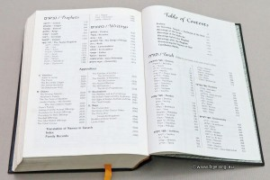the table of contents for a Tanach