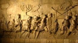 The Arch of Titus in Rome portrays Roman soldiers looting the Second Temple at the time of its destruction in 70 CE (photo courtesy of Wikimedia Commons)