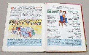 Pages from an illustrated Haggadah for children. This one has 'parallel' Hebrew and English text (the Hebrew text of the Haggadah has an English translation alongside it); the text in blue boxes at the bottom of the pages is explanation of the text.