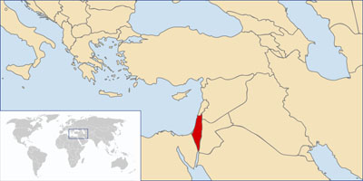 A world map showing the location of Israel Map courtesy of Wikimedia.
