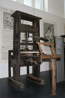 A printing press from 1811. Photo courtesy of Wikimedia Commons