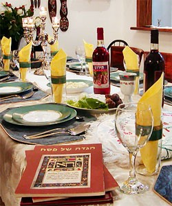 A table set ready for Seder.
