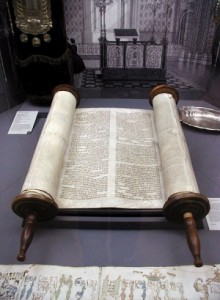 An open Torah Scroll on the reading table of a German synagogue
