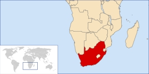 This map shows the location of South Africa in southern Africa and the world (map courtesy of Wikipedia Commons)