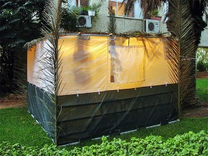 A typical modern-day sukkah in the back yard of a home.