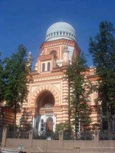 A synagogue in St Petersburg shows typical Russian architectural influence