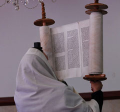 At the conclusion of every reading of the Torah in synagogue, it is lifted up and shown to the congregation. This practice is known as hagbah.