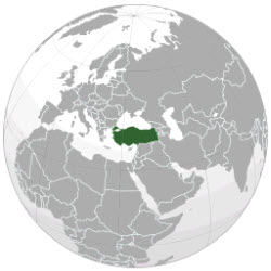 This map shows the location of modern-day Turkey (map courtesy of Wikipedia Commons)