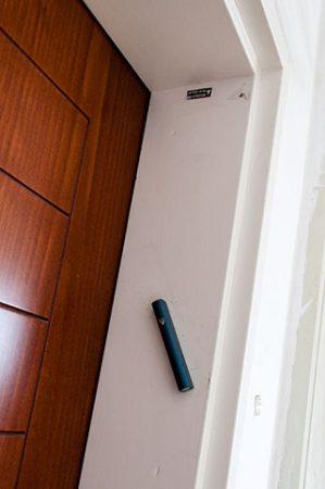 a typical mezuzah on a door frame