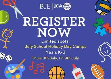 Register now for BJE's Day Camp on July 8 & 9 for Year K-3 students