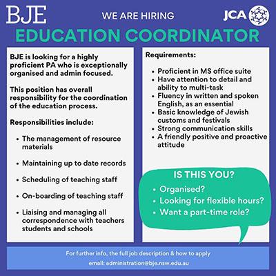 Education Coordinator position vacant
